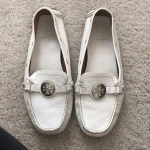 White Tory Burch loafers